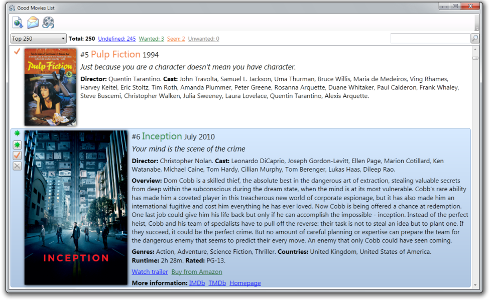 Click to view Good Movies List 1.4.1 screenshot